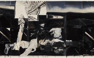 Reima Nevalainen: Ugetsu, 2015, akryyli, kollaasi ja hiekka kankaalle, 200 cm x 400 cm. Kuva: Angel Gil